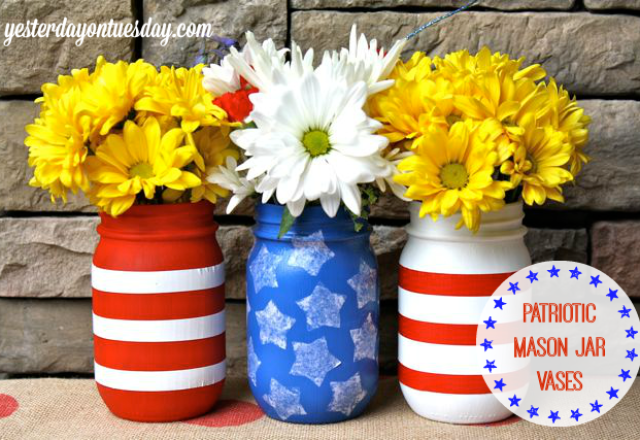 red, white and blue mason jars - Yesterday on Tuesday