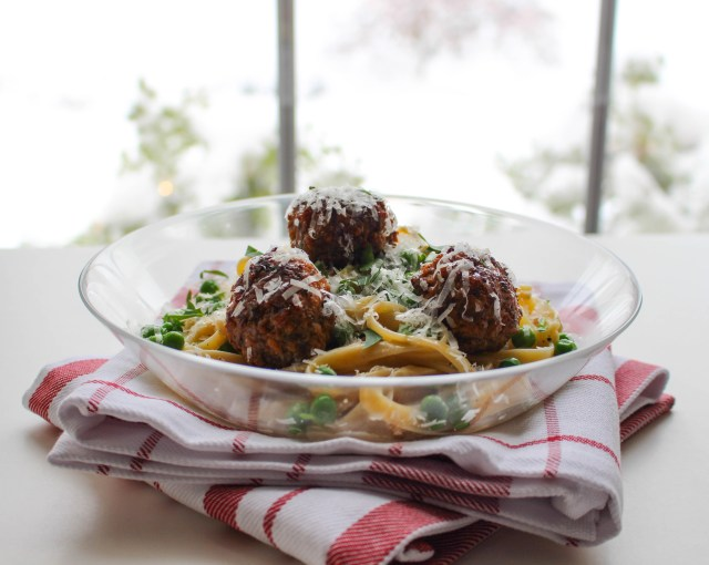 Fettuccine with Truffled Lamb Meatballs & Sherried Cream Sauce