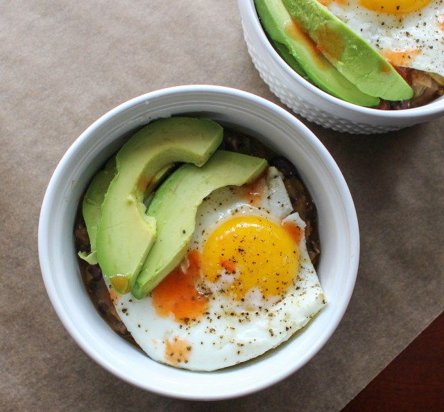 Refried Beans with Avocado & Fried Eggs   Yes to Yolks