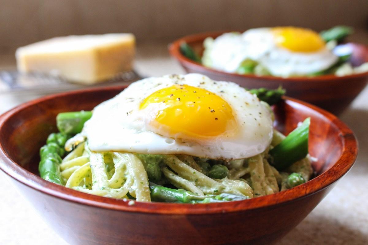 Lightened-Up Pasta Carbonara with Asparagus & Fried Egg