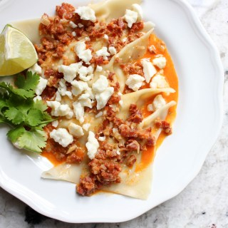 Fresh Corn Ravioli with Chorizo Sauce   Yes to Yolks