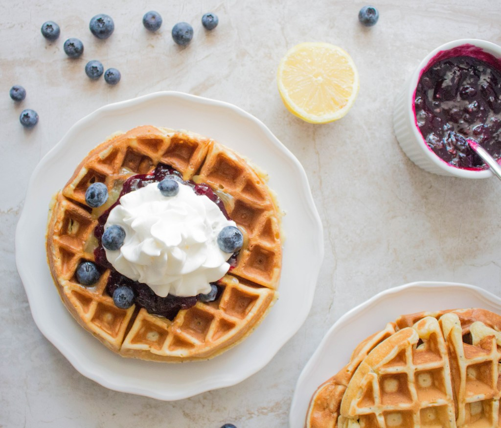 Lemon Poppy Seed Waffles with Lemon Curd & Blueberry Syrup