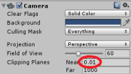 Adjust Near Clipping Plane to 0.01
