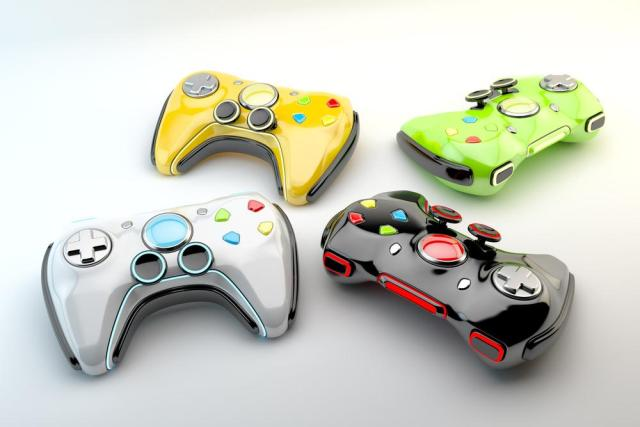 Colorful gaming controllers