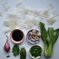 """Vietnamesische """"Bánh cuốn"""" - gebratene viereckige Reisnudeln (vegan)"""