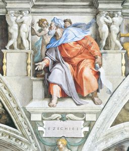 """Ezekiel by Michelangelo, restored - large"" by Michelangelo Buonarroti - http://www.zeno.org/Kunstwerke.images/I/77j309a.jpg. Licensed under Public Domain via Wikimedia Commons."