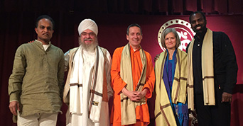 The conference included a lively panel discussion with (left to right) Prasad Palacharla,  Shiva Singh Khalsa, Swami Narayanananda, Kali Om, and Yirser Ra-Hotep.