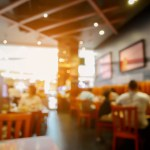 Customer in restaurant blur background with bokeh, for create montage product display