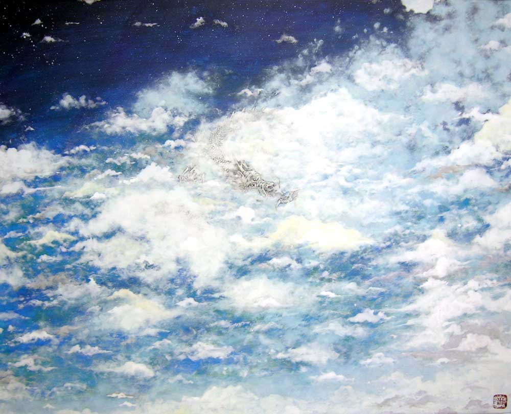 青空と雲と白龍図