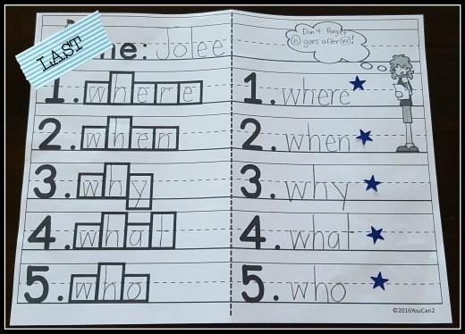 Day 4 Spelling Practice Last