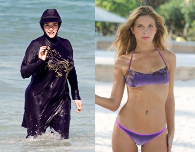 """Comparison bwtween burkini and bikini. Illustration to Shakespeare quote, """"Costly thy habit as thy purse can buy, but not expressed in fancy, rich, not gaudy."""""""