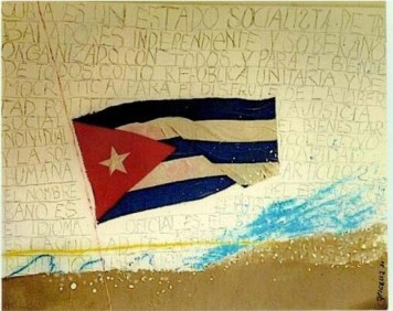"""Cuban flag at half-mast. Illustration of Shakespeare quote from Hamlet, """"He was a man, take him for all in all, I shall not look upon his like again."""""""