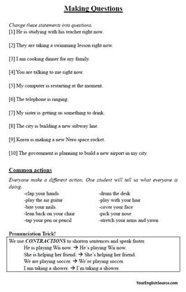 lesson plan present continuous At the end of this lesson students will learn how to form and when to use present continuous tense (for future) they will be able to talk about plans they have for.
