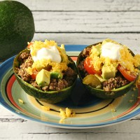 Taco Stuffed Avocado with Avocado Salsa