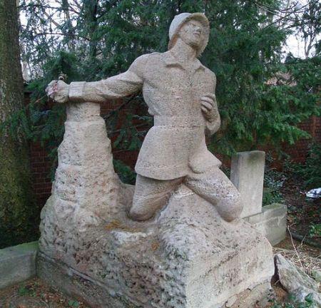 Soldier statue hand grenade
