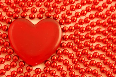 Love Glass Heart with Red Pearls Beads