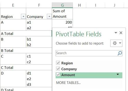 show fields with dropdown
