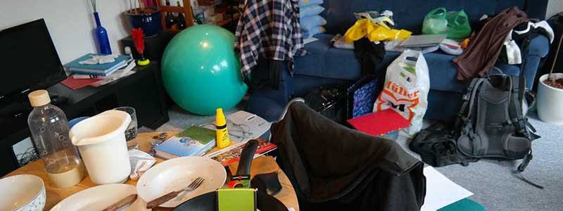 messy room comfortable