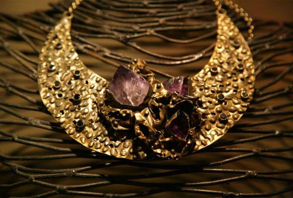 Michelline Syjuco Neckpiece Handbeaten brass with raw amethyst crystals Created by Michelline Syjuco