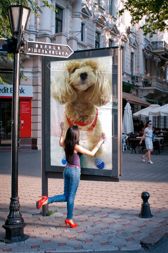 合成写真の歩道の看板