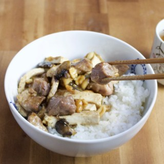 Stir-fried pork with peanuts and-tofu