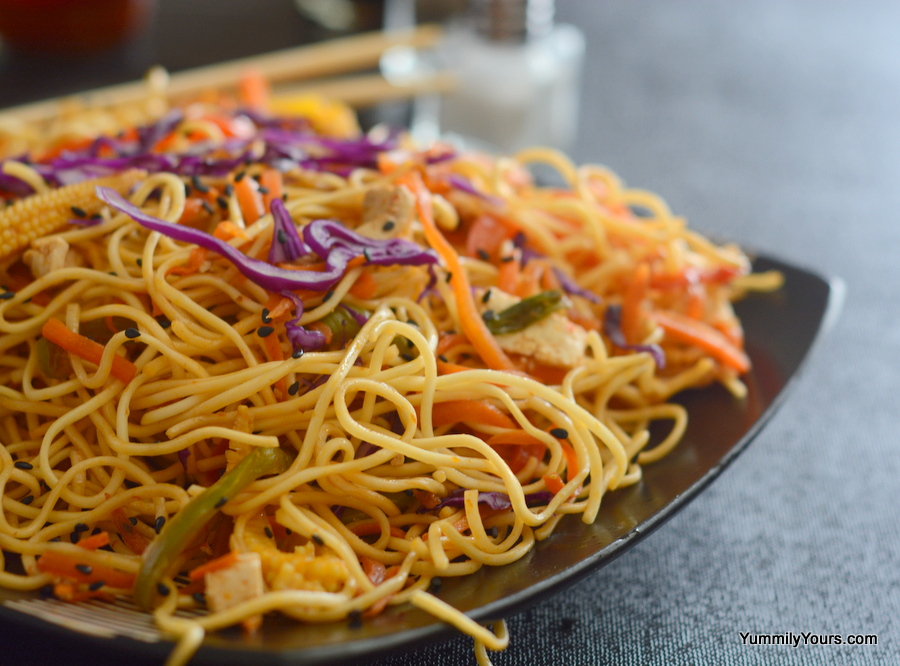 Hakka noodles vegetable chow mein yummily yours what are the vegetables that you can add to this dish its completely up to you the recipe lists a set of standard vegetables which can be added forumfinder Image collections
