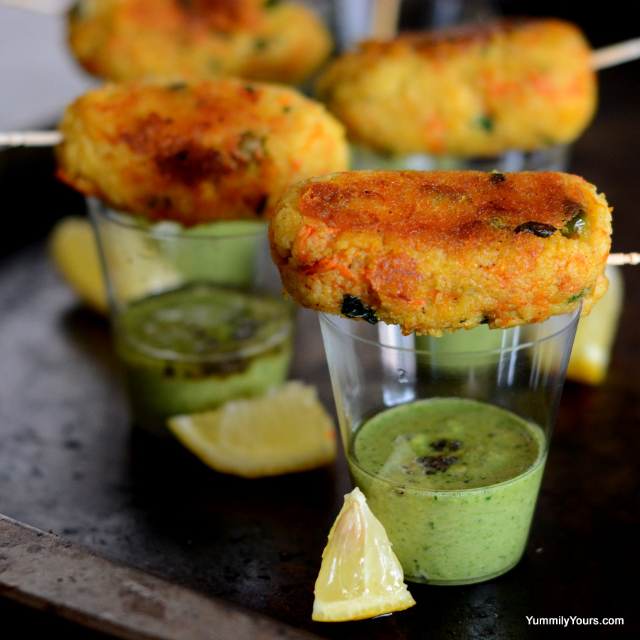 COCKTAIL IDLI KEBABS WITH CHUTNEY SHOTS