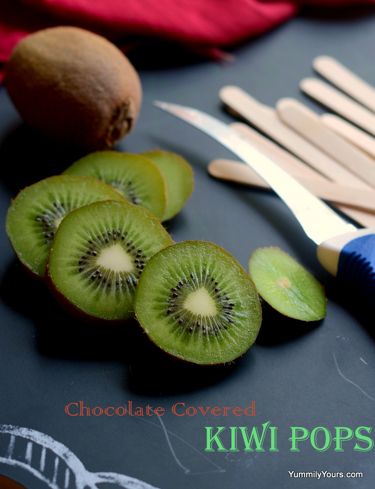 Chocolate covered kiwi pops, frozen fruity treats