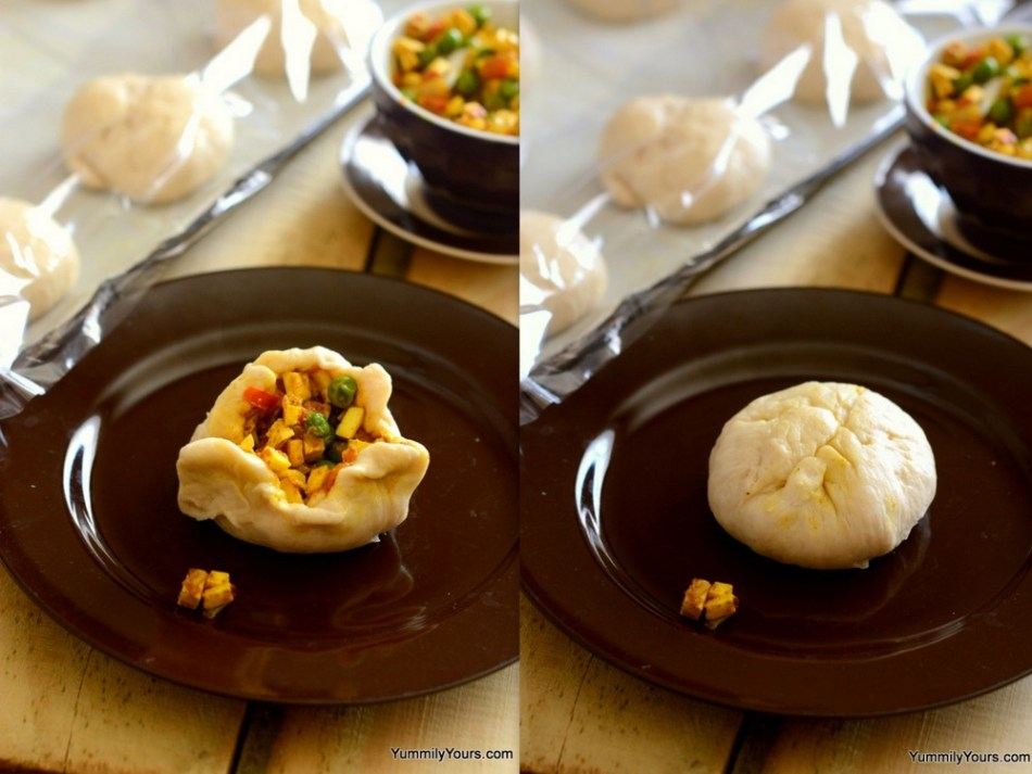 Vegetarian stuffed chinese buns' Indian cousin