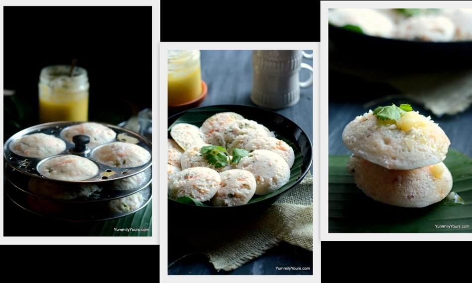 Masala idli, steamed rice cakes with veggies, an ideal make-ahead breakfast