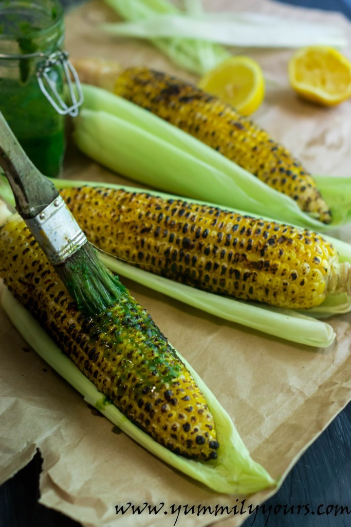 Bhutta, The Indian grilled corn slathered in a spicy mint-cilantro chutney is must-have this summer!