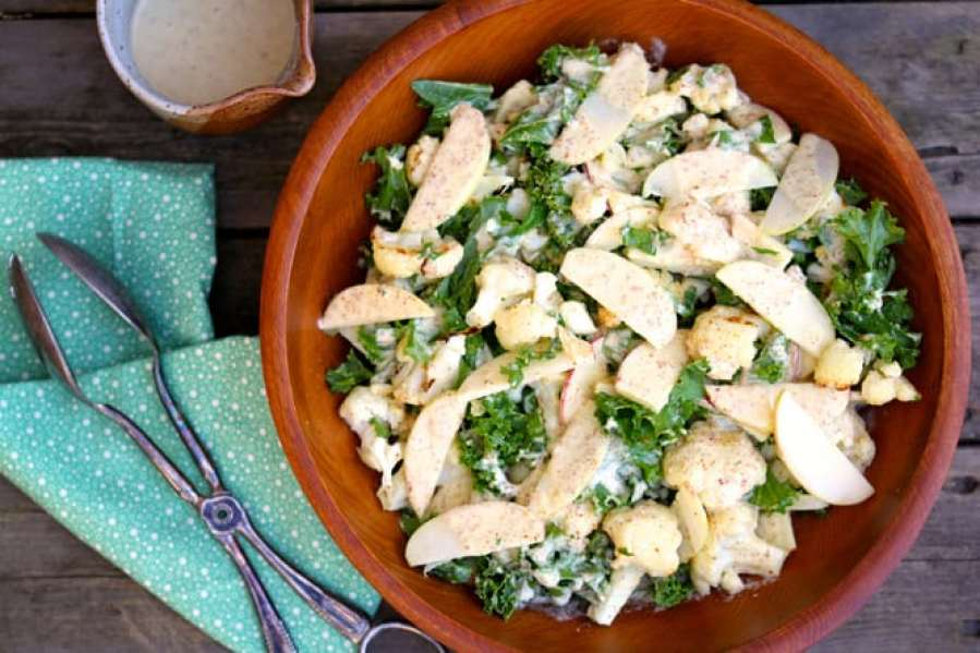 Cauliflower, Kale & Apple Salad with Creamy Mustard Orange Dressing