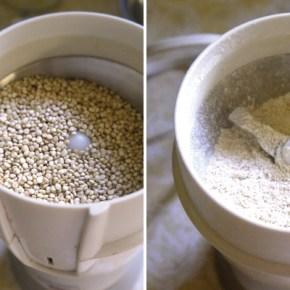 Grinding quinoa into quinoa flour.