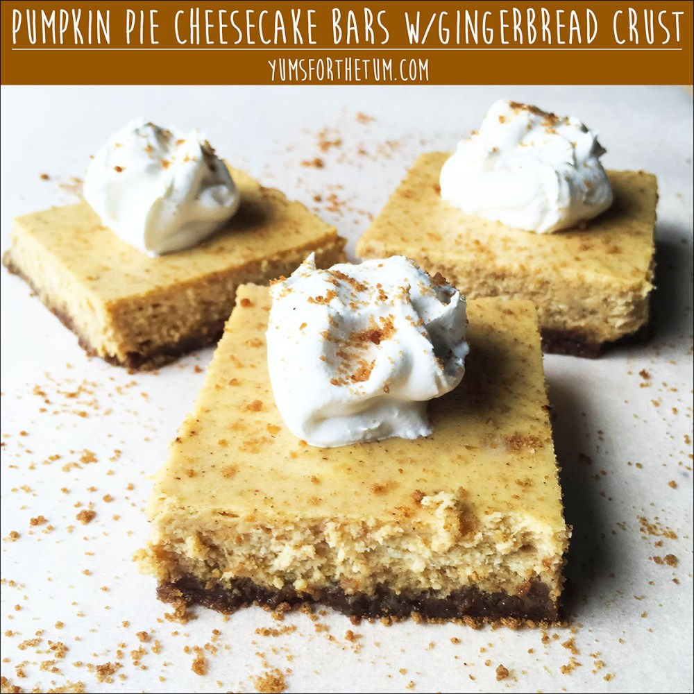 Pumpkin Pie Cheesecake Bars With Gingerbread Crust