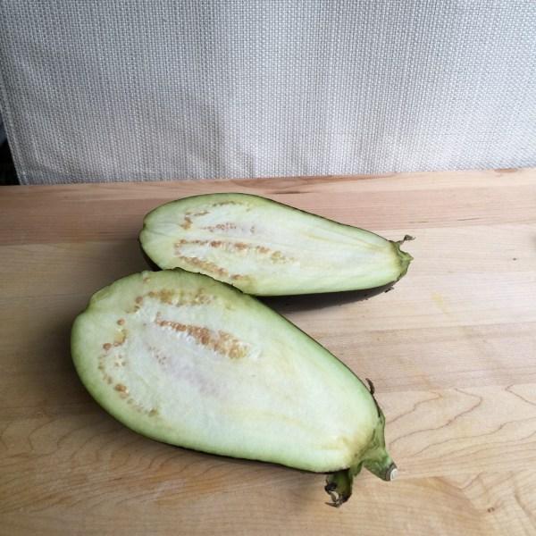 eggplant sliced in half