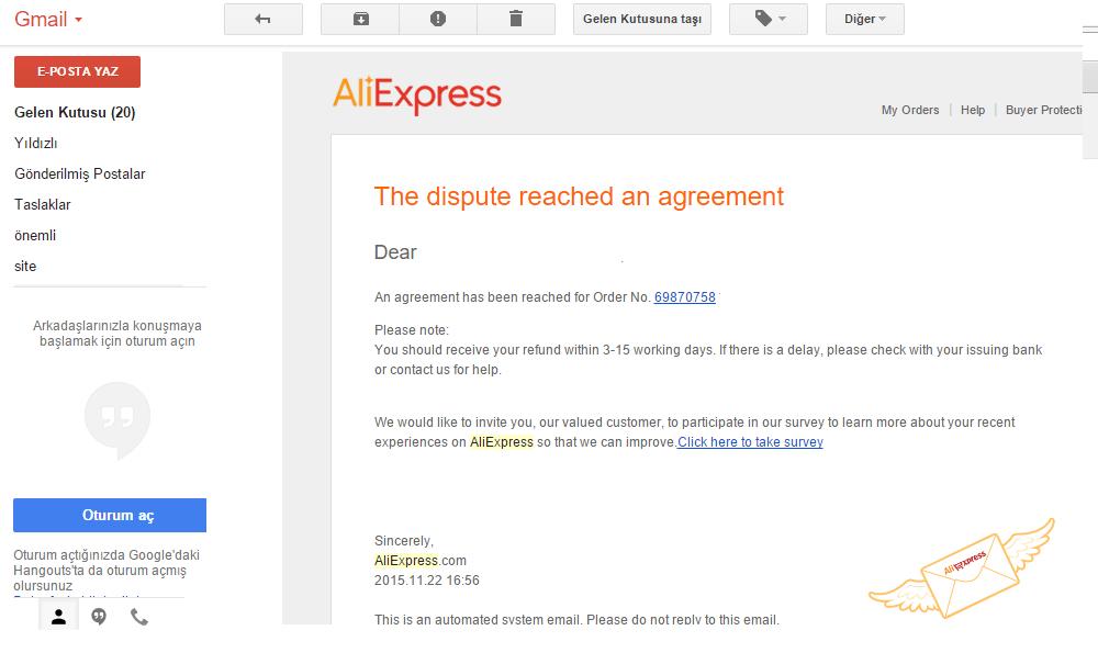 Aliexpress ücret iadesi 2