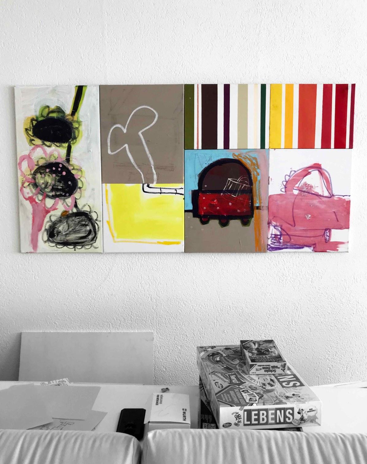 Serie Aluis C., 2019, Acryl, Spray, Ölstick, Markerstift, Papier