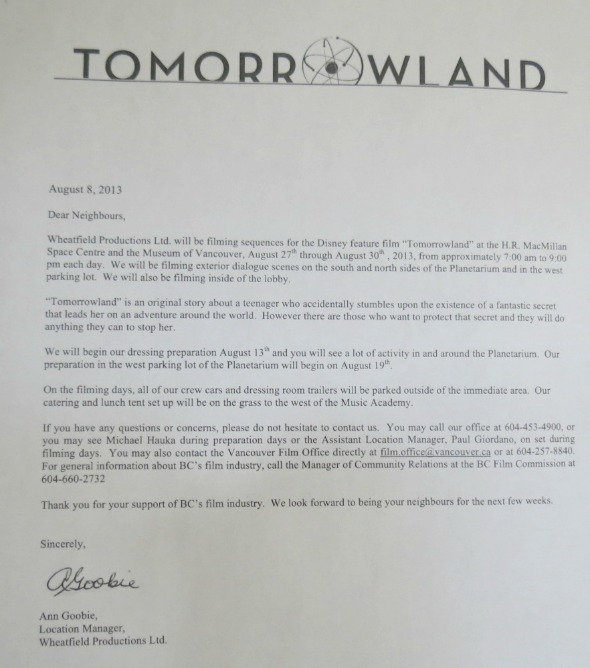 tomorrowland filming notice