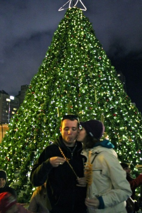 Romantic View of the Christmas Tree at the German Christmas Market in Vancouver, Canada via ZaagiTravel.com