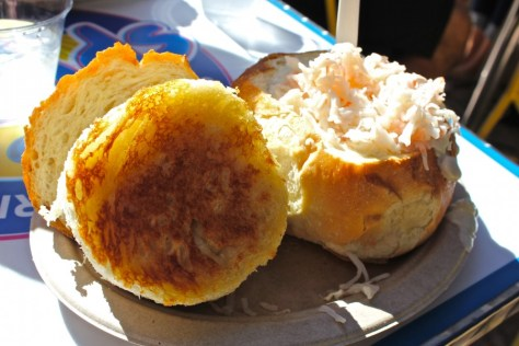 Clam Chowder in Sourdough Bread Bowl from Splash Cafe, Pismo Beach, CA via ZaagiTravel.com