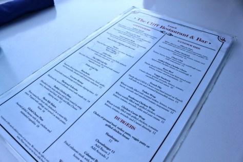 Menu at the Cliff Restaurant in Laguna Beach, California via ZaagiTravel.com