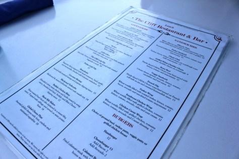 Menu at the Cliff Restaurant in Laguna Beach, California via ZaagiTravel.com