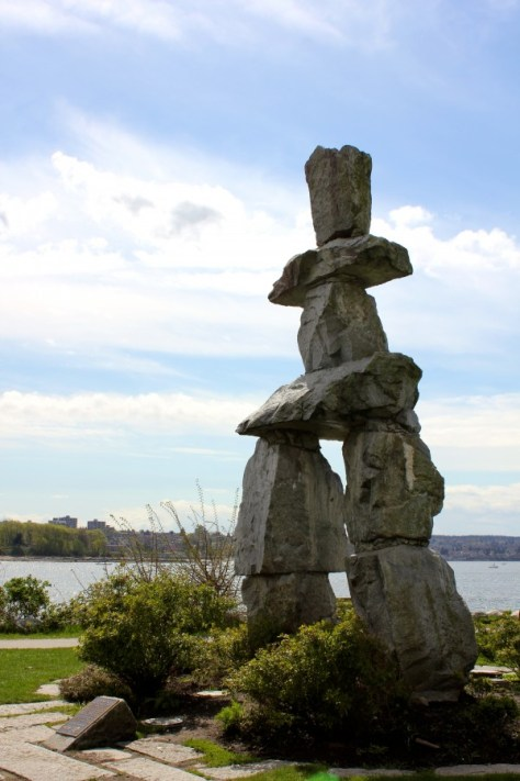 Inukshuk - ancient symbol of the Inuit culture - Beach at Spanish Banks in Vancouver, British Columbia, Canada via ZaagiTravel.com