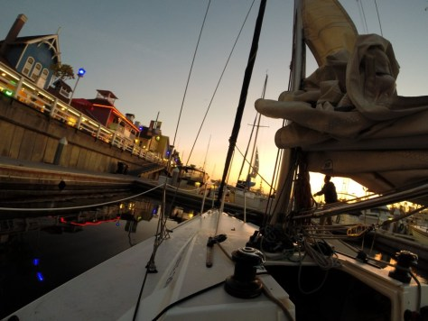 Sailing in Long Beach, California at sunset