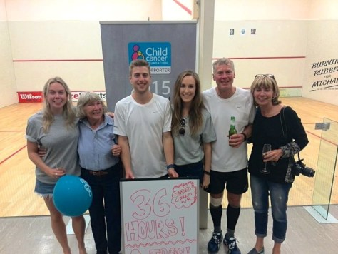 The Meyer clan after the 36-hour squash Guinness World Record on April 12, 2015 via ZaagiTravel.com