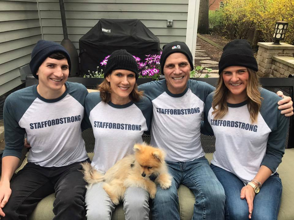 "Rob Stafford with his family, wearing ""Stafford Strong"" T-shirts."