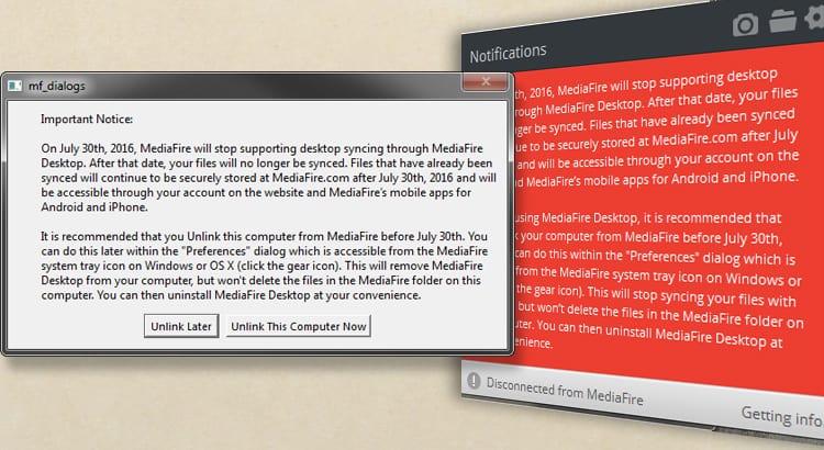 MediaFire Discontinues Desktop Sync