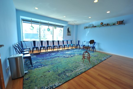 ZBS Beach Room.  Acting classroom, suitable for 12-15 students.  SmartTV with high-def camera.  Bright space with windows overlooking South La Brea Ave.