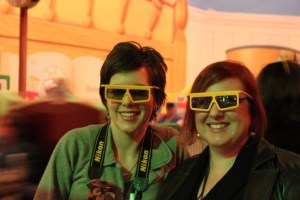 Amanda W. and me about to ride Toy Story Mid-way Mania! Photo courtesy of Disney Dad Joel K.