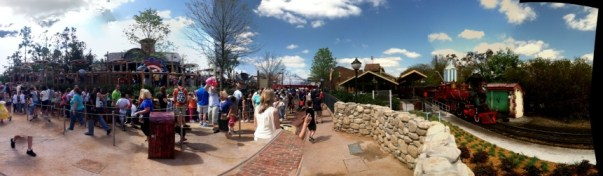 Panoramic shot of the area from the Storybook Circus train station